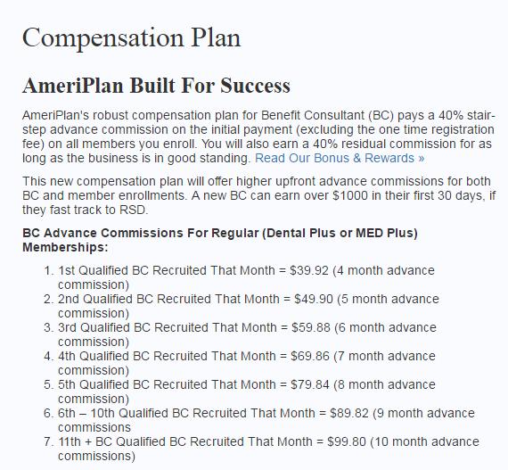 AmeriPlan Compensation Plan