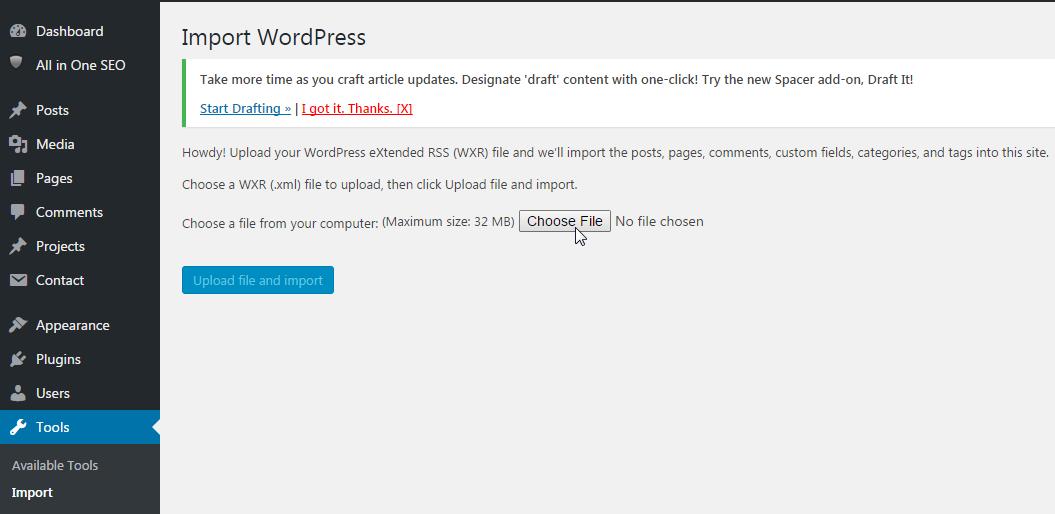 WordPress Import