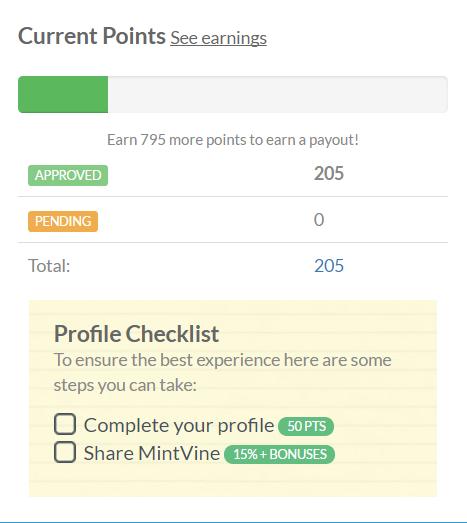 MintVine Points System